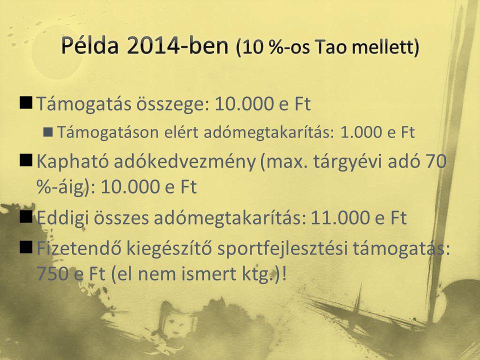 Támogatás összege: 10.000 e Ft  Támogatáson elért adómegtakarítás: 1.000 e Ft  Kapható adókedvezmény (max. tárgyévi adó 70 %-áig): 10.000 e Ft  E