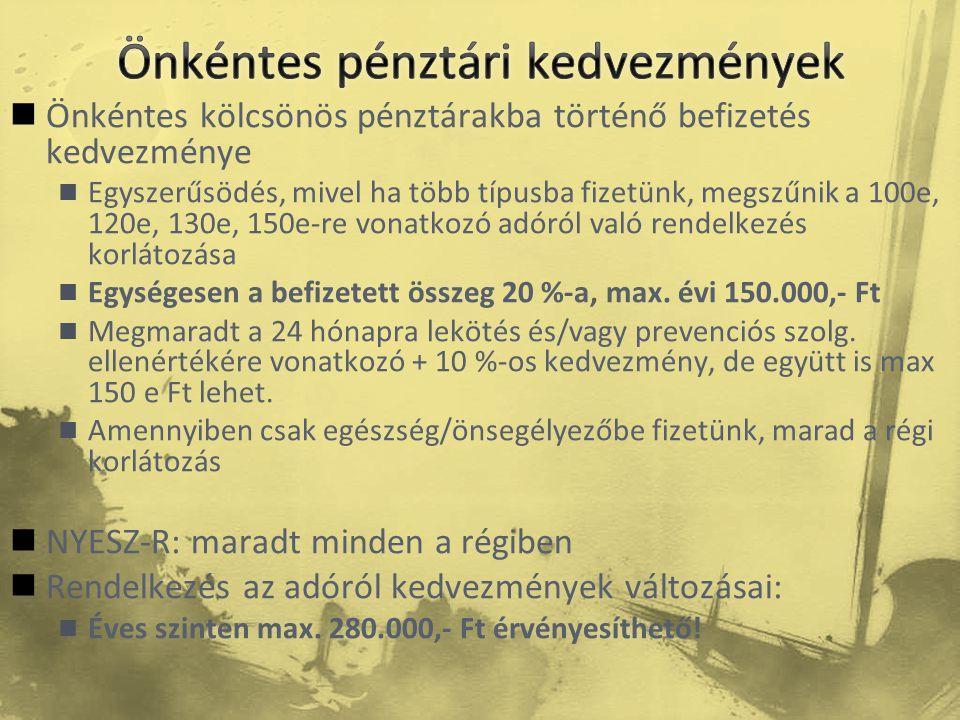  Önkéntes kölcsönös pénztárakba történő befizetés kedvezménye  Egyszerűsödés, mivel ha több típusba fizetünk, megszűnik a 100e, 120e, 130e, 150e-re