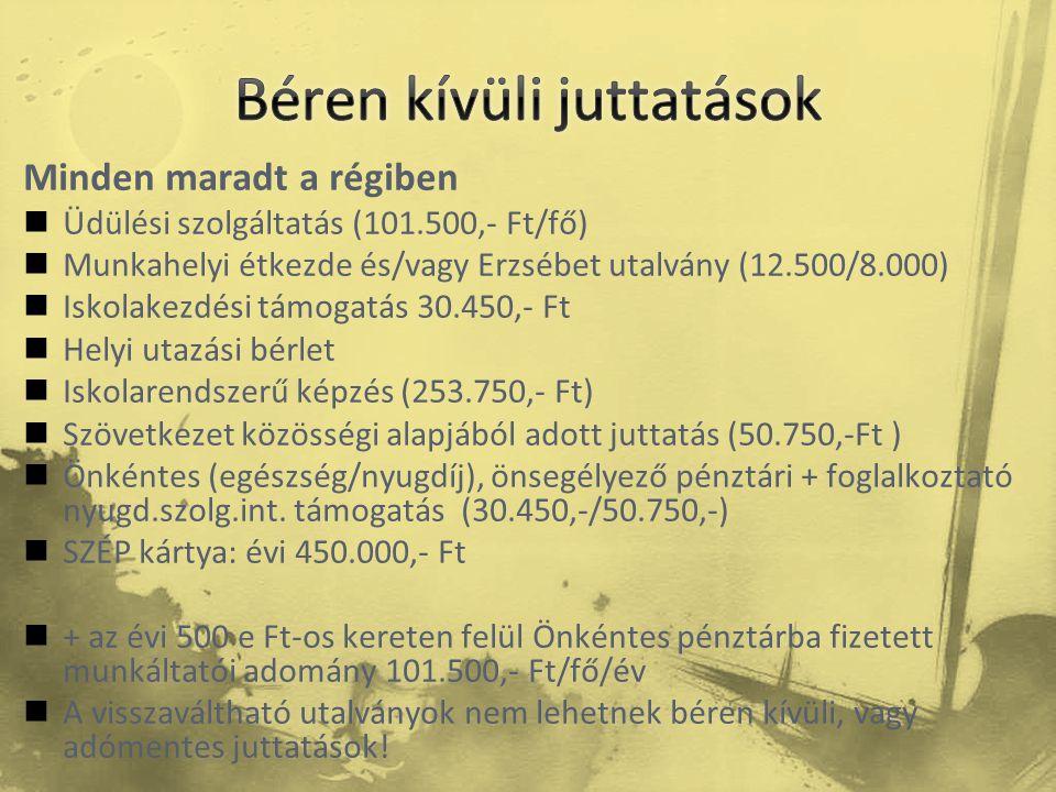 Minden maradt a régiben  Üdülési szolgáltatás (101.500,- Ft/fő)  Munkahelyi étkezde és/vagy Erzsébet utalvány (12.500/8.000)  Iskolakezdési támogat