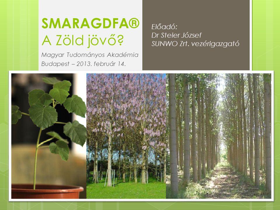 SMARAGDFA® A Zöld jövő? Magyar Tudományos Akadémia Budapest – 2013. február 14. Előadó: Dr Steier József SUNWO Zrt. vezérigazgató