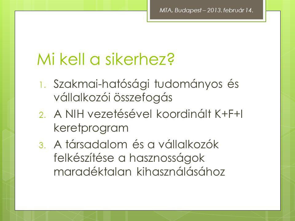 Mi kell a sikerhez? 1. Szakmai-hatósági tudományos és vállalkozói összefogás 2. A NIH vezetésével koordinált K+F+I keretprogram 3. A társadalom és a v