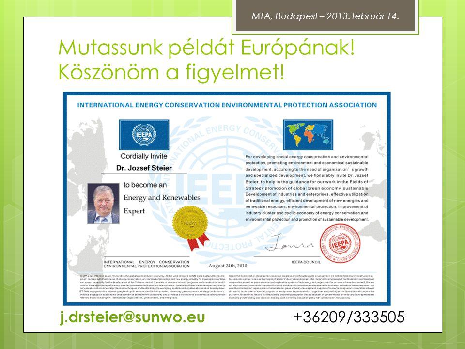 Mutassunk példát Európának! Köszönöm a figyelmet! j.drsteier@sunwo.eu +36209/333505 MTA, Budapest – 2013. február 14.