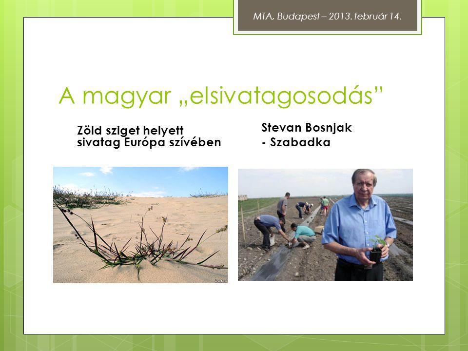 """A magyar """"elsivatagosodás"""" Zöld sziget helyett sivatag Európa szívében Stevan Bosnjak - Szabadka MTA, Budapest – 2013. február 14."""