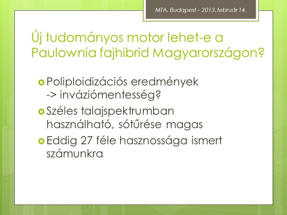 Új tudományos motor lehet-e a Paulownia fajhibrid Magyarországon?  Poliploidizációs eredmények -> inváziómentesség?  Széles talajspektrumban használ