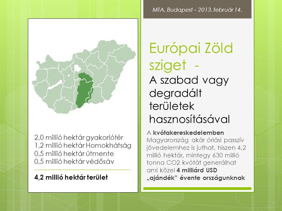 Európai Zöld sziget - A szabad vagy degradált területek hasznosításával A kvótakereskedelemben Magyarország akár óriási passzív jövedelemhez is juthat