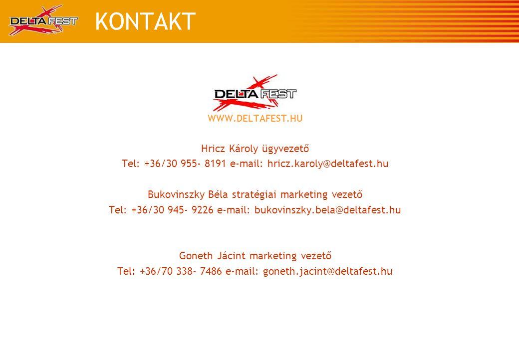 KONTAKT WWW.DELTAFEST.HU Hricz Károly ügyvezető Tel: +36/30 955- 8191 e-mail: hricz.karoly@deltafest.hu Bukovinszky Béla stratégiai marketing vezető Tel: +36/30 945- 9226 e-mail: bukovinszky.bela@deltafest.hu Goneth Jácint marketing vezető Tel: +36/70 338- 7486 e-mail: goneth.jacint@deltafest.hu