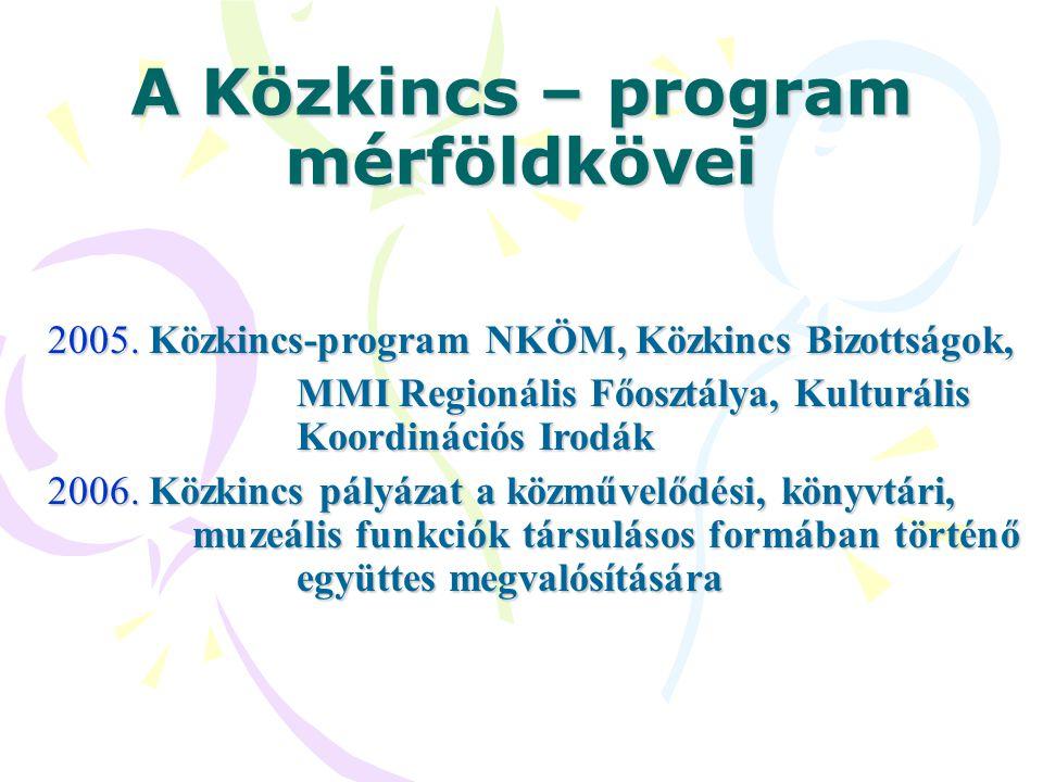 A Közkincs – program mérföldkövei 2005. Közkincs-program NKÖM, Közkincs Bizottságok, MMI Regionális Főosztálya, Kulturális Koordinációs Irodák MMI Reg