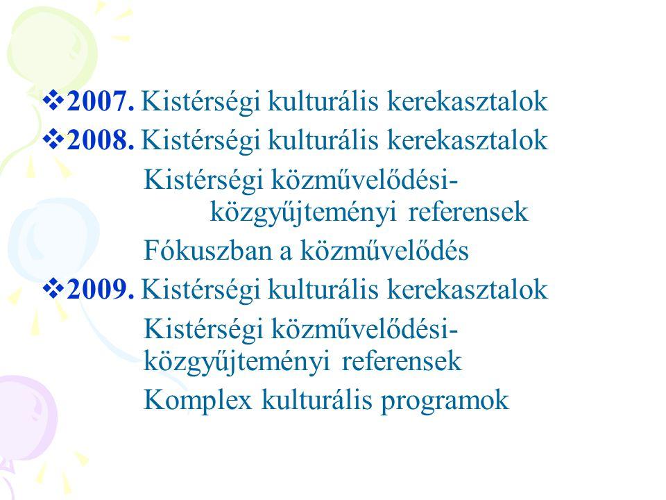  2007. Kistérségi kulturális kerekasztalok  2008. Kistérségi kulturális kerekasztalok Kistérségi közművelődési- közgyűjteményi referensek Fókuszban