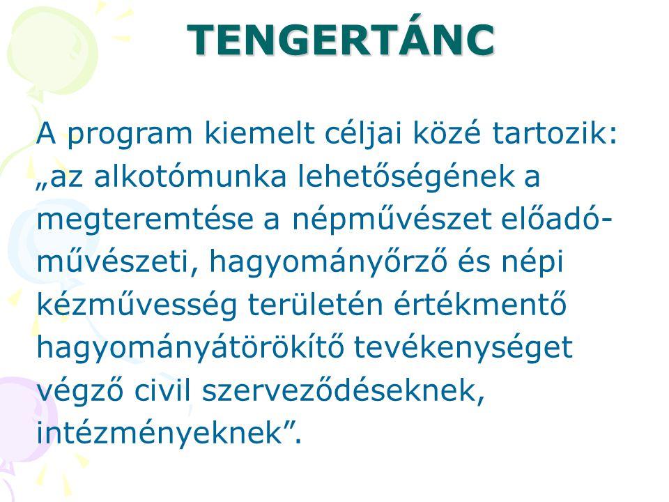 """TENGERTÁNC A program kiemelt céljai közé tartozik: """"az alkotómunka lehetőségének a megteremtése a népművészet előadó- művészeti, hagyományőrző és népi"""