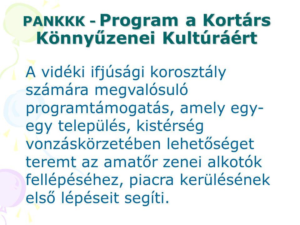 PANKKK - Program a Kortárs Könnyűzenei Kultúráért A vidéki ifjúsági korosztály számára megvalósuló programtámogatás, amely egy- egy település, kistérs