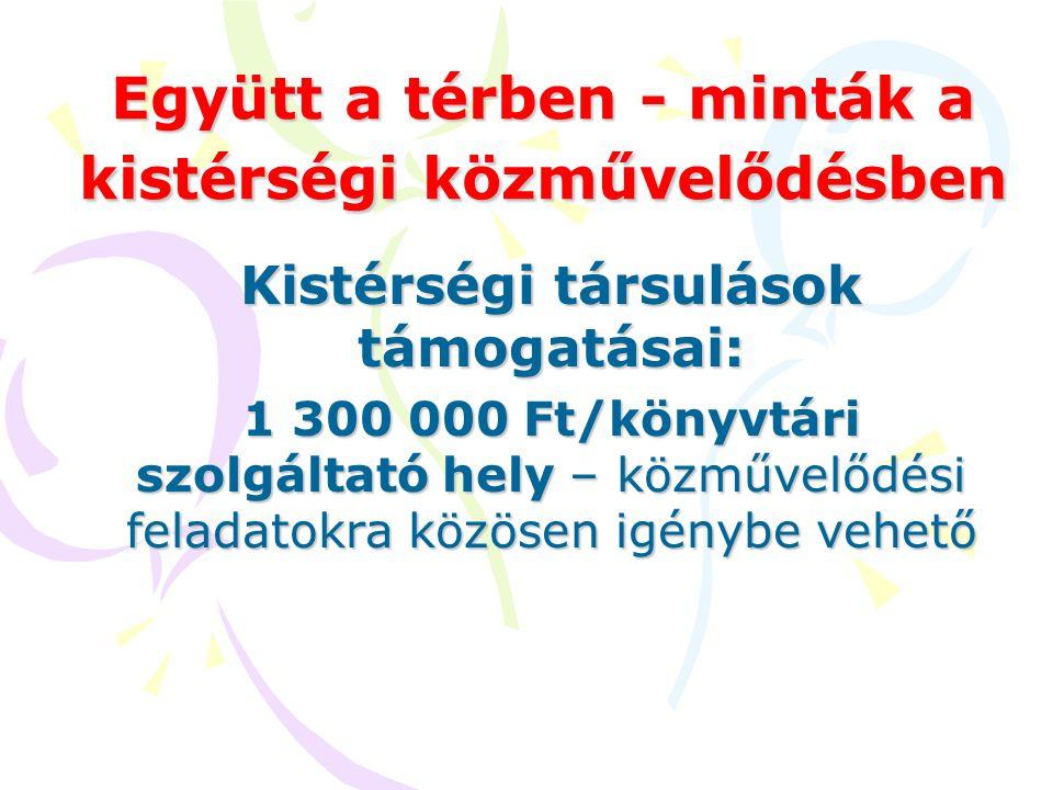 Együtt a térben - minták a kistérségi közművelődésben Kistérségi társulások támogatásai: 1 300 000 Ft/könyvtári szolgáltató hely – közművelődési felad