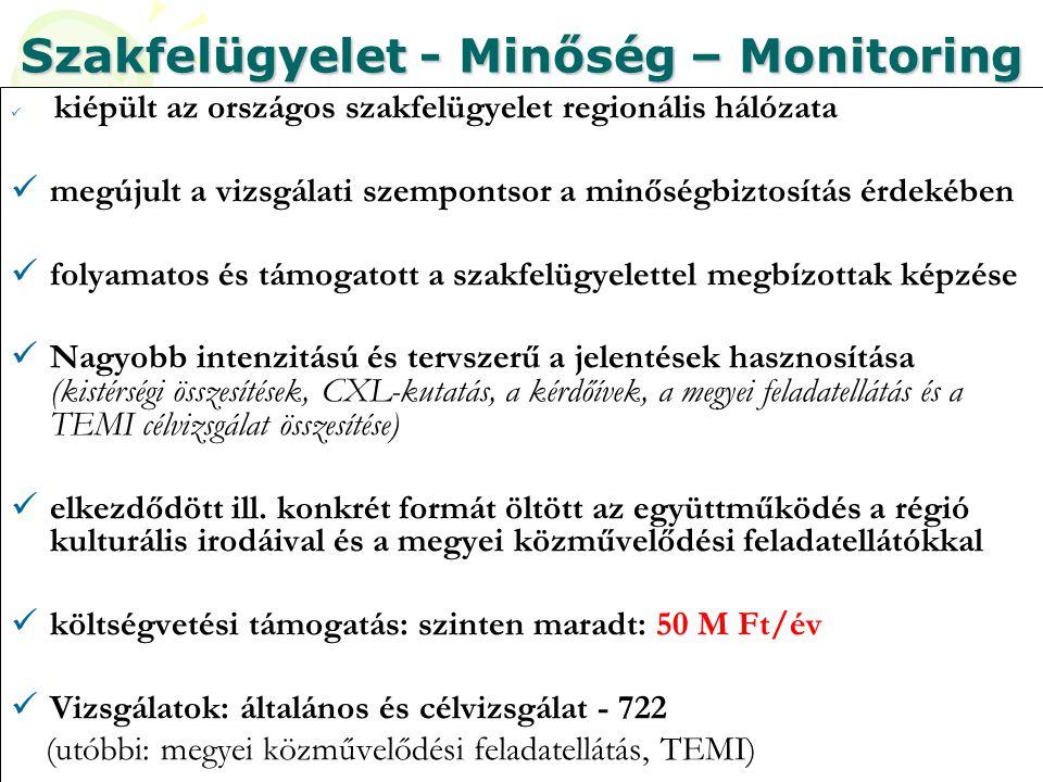 Szakfelügyelet - Minőség – Monitoring  kiépült az országos szakfelügyelet regionális hálózata  megújult a vizsgálati szempontsor a minőségbiztosítás