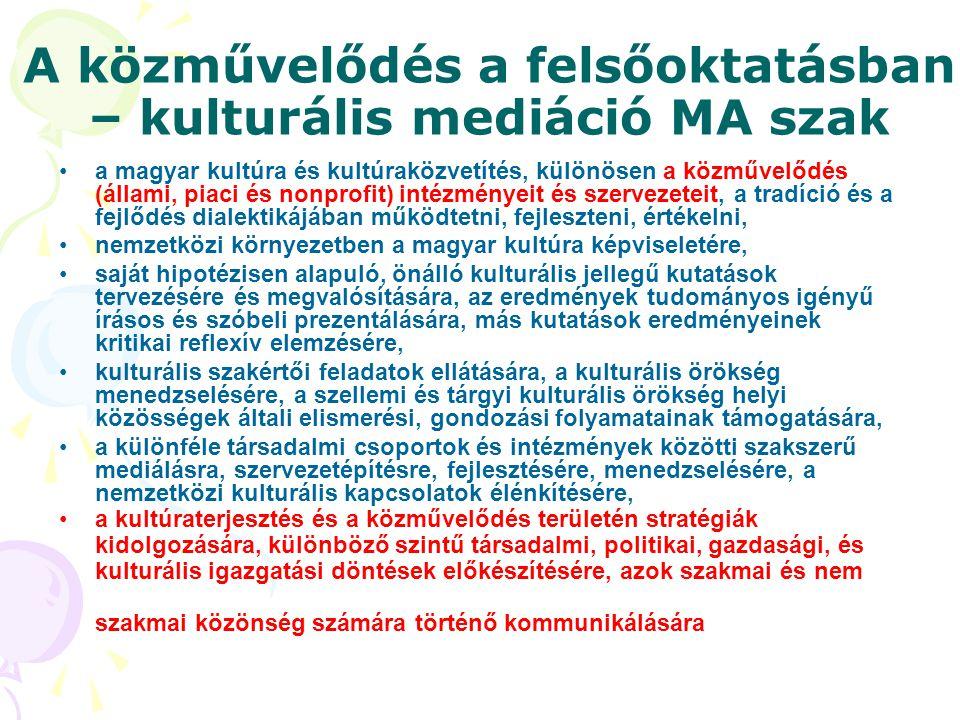 A közművelődés a felsőoktatásban – kulturális mediáció MA szak •a magyar kultúra és kultúraközvetítés, különösen a közművelődés (állami, piaci és nonp