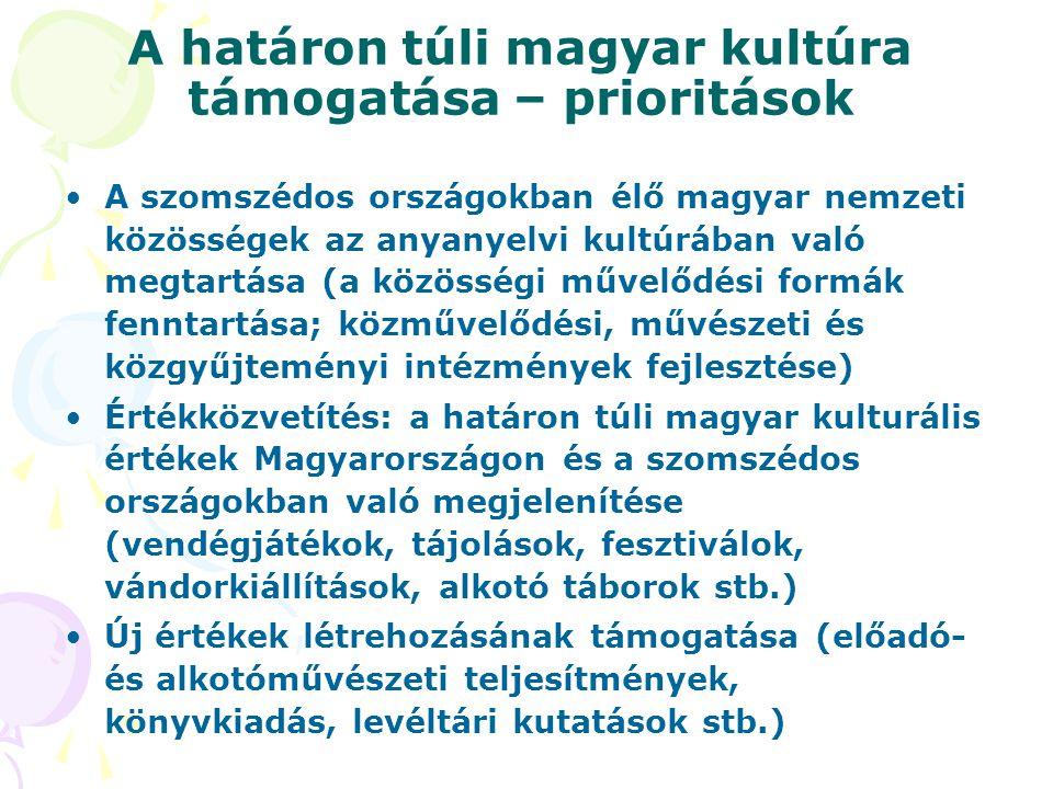A határon túli magyar kultúra támogatása – prioritások •A szomszédos országokban élő magyar nemzeti közösségek az anyanyelvi kultúrában való megtartás