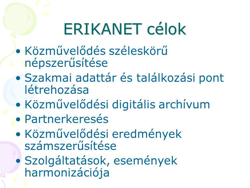 ERIKANET célok •Közművelődés széleskörű népszerűsítése •Szakmai adattár és találkozási pont létrehozása •Közművelődési digitális archívum •Partnerkere