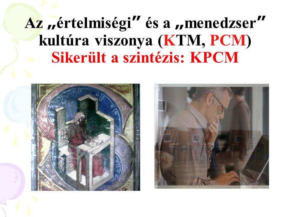 """Az """" értelmiségi """" és a """" menedzser """" kultúra viszonya (KTM, PCM) Sikerült a szintézis: KPCM"""