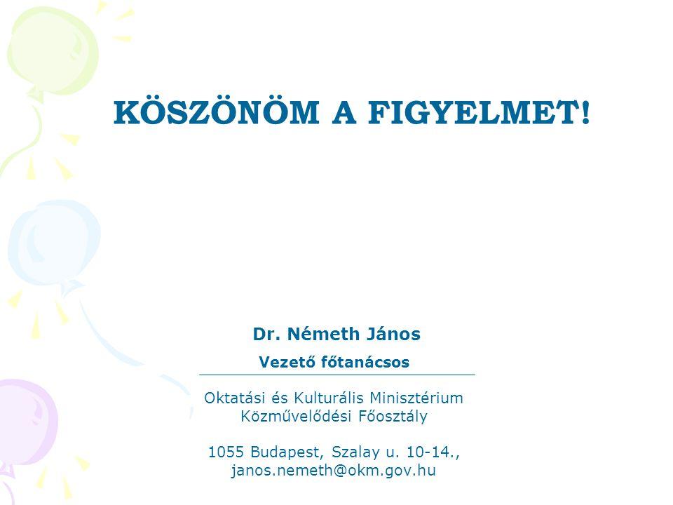 Dr. Németh János Vezető főtanácsos Oktatási és Kulturális Minisztérium Közművelődési Főosztály 1055 Budapest, Szalay u. 10-14., janos.nemeth@okm.gov.h