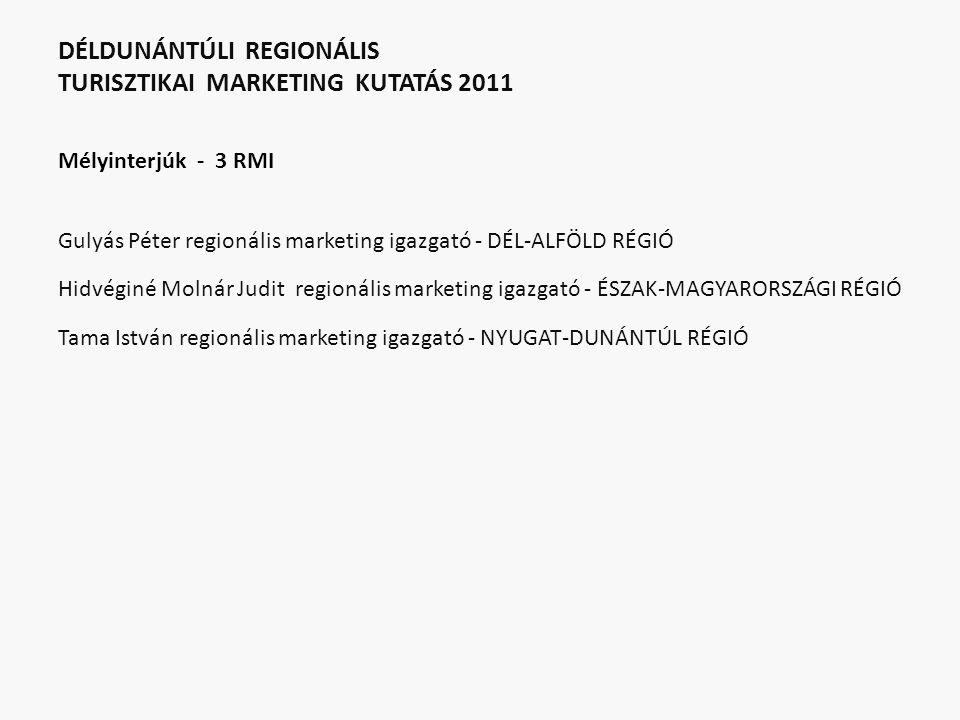 DÉLDUNÁNTÚLI REGIONÁLIS TURISZTIKAI MARKETING KUTATÁS 2011 Mélyinterjúk - 3 RMI Gulyás Péter regionális marketing igazgató - DÉL-ALFÖLD RÉGIÓ Hidvégin