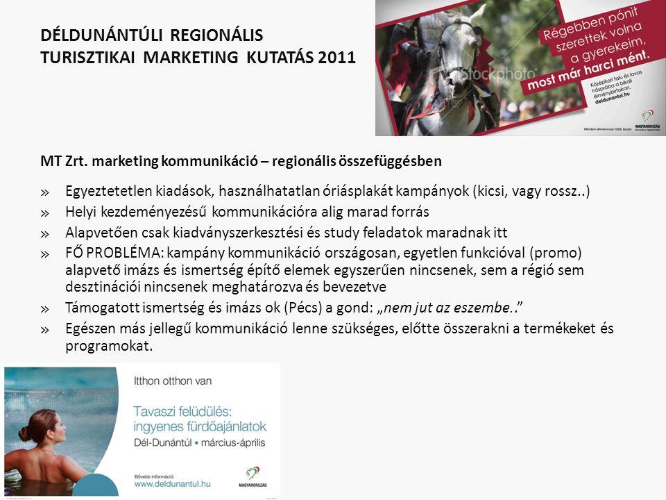 DÉLDUNÁNTÚLI REGIONÁLIS TURISZTIKAI MARKETING KUTATÁS 2011 MT Zrt. marketing kommunikáció – regionális összefüggésben » Egyeztetetlen kiadások, haszná