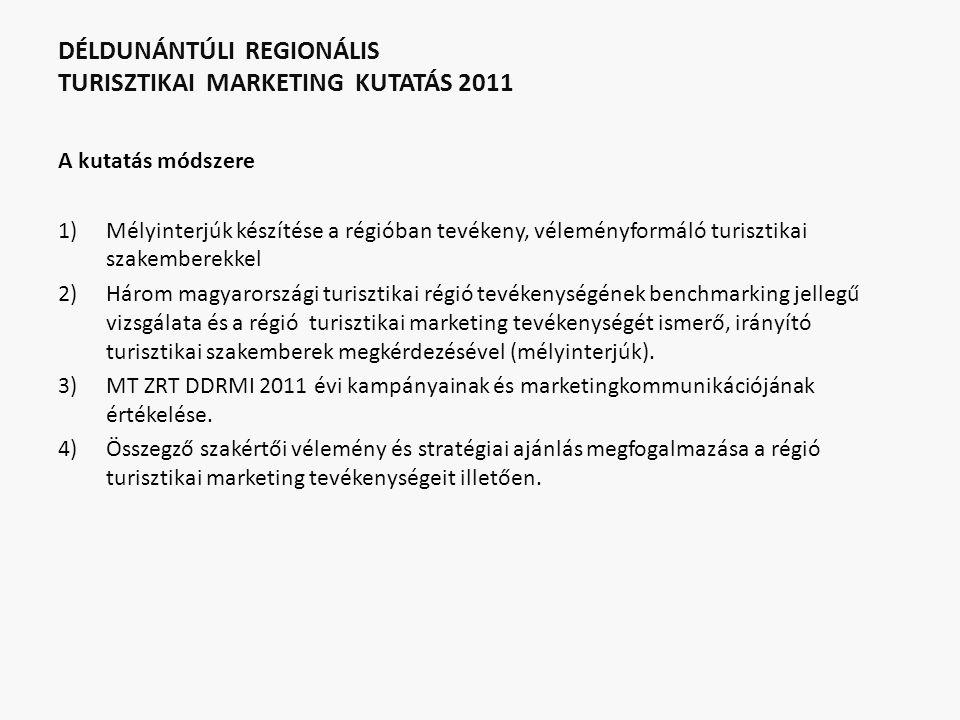 DÉLDUNÁNTÚLI REGIONÁLIS TURISZTIKAI MARKETING KUTATÁS 2011 A kutatás módszere 1)Mélyinterjúk készítése a régióban tevékeny, véleményformáló turisztikai szakemberekkel 2)Három magyarországi turisztikai régió tevékenységének benchmarking jellegű vizsgálata és a régió turisztikai marketing tevékenységét ismerő, irányító turisztikai szakemberek megkérdezésével (mélyinterjúk).