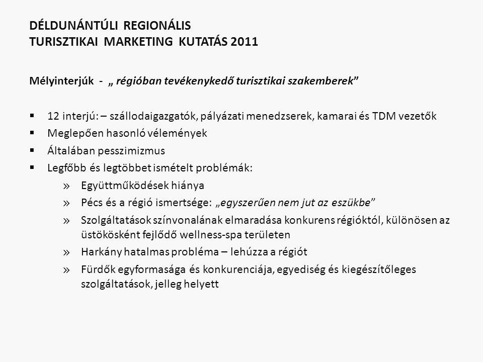"""DÉLDUNÁNTÚLI REGIONÁLIS TURISZTIKAI MARKETING KUTATÁS 2011 Mélyinterjúk - """" régióban tevékenykedő turisztikai szakemberek""""  12 interjú: – szállodaiga"""