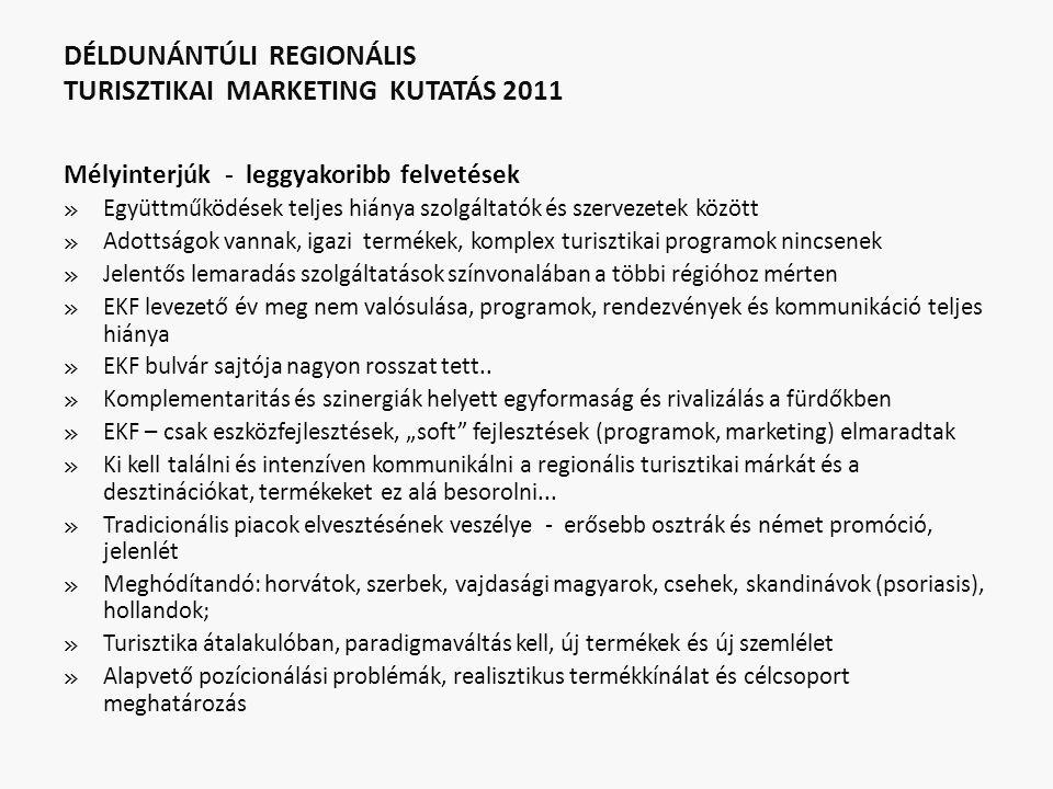 DÉLDUNÁNTÚLI REGIONÁLIS TURISZTIKAI MARKETING KUTATÁS 2011 Mélyinterjúk - leggyakoribb felvetések » Együttműködések teljes hiánya szolgáltatók és szervezetek között » Adottságok vannak, igazi termékek, komplex turisztikai programok nincsenek » Jelentős lemaradás szolgáltatások színvonalában a többi régióhoz mérten » EKF levezető év meg nem valósulása, programok, rendezvények és kommunikáció teljes hiánya » EKF bulvár sajtója nagyon rosszat tett..