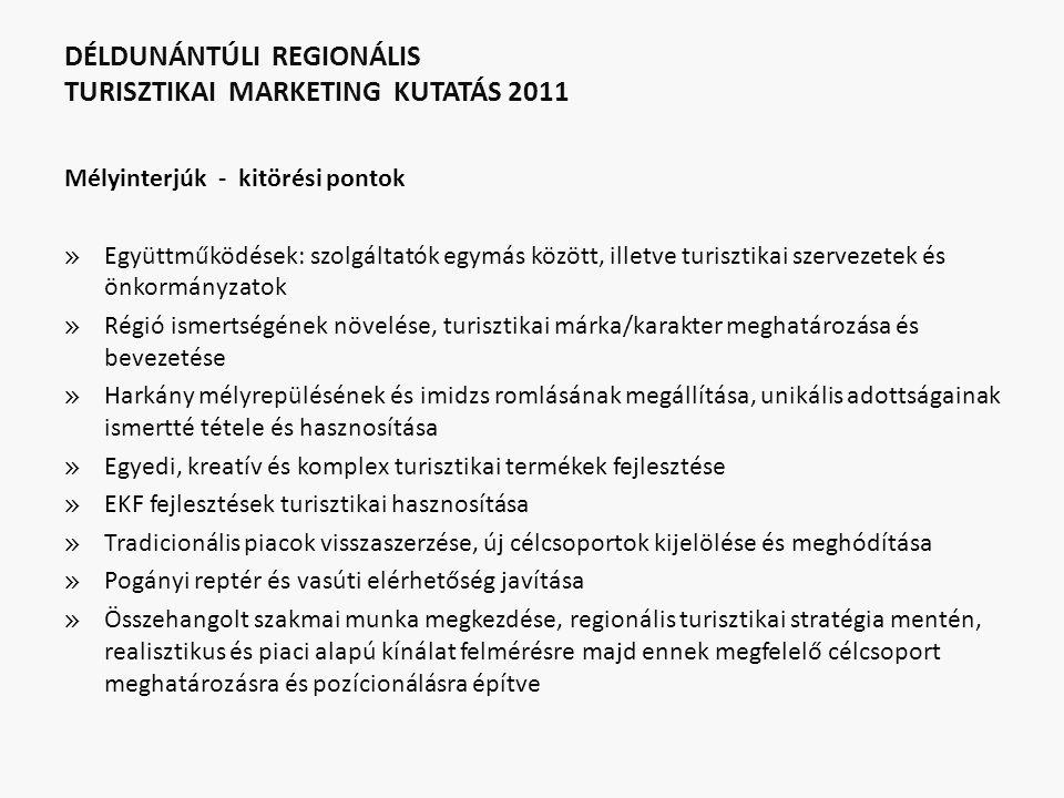 DÉLDUNÁNTÚLI REGIONÁLIS TURISZTIKAI MARKETING KUTATÁS 2011 Mélyinterjúk - kitörési pontok » Együttműködések: szolgáltatók egymás között, illetve turis