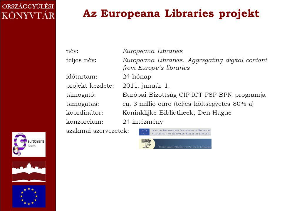 ORSZÁGGY Ű LÉSI KÖNYVTÁR Az Europeana Libraries projekt név: Europeana Libraries teljes név: Europeana Libraries. Aggregating digital content from Eur