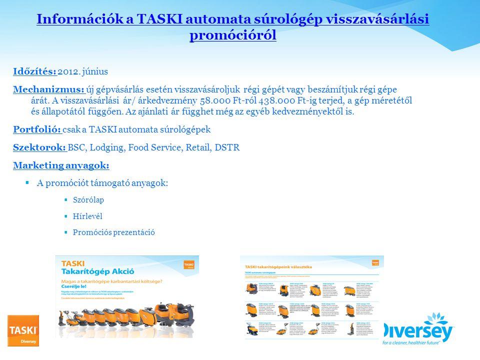 Információk a TASKI automata súrológép visszavásárlási promócióról Időzítés: 2012.