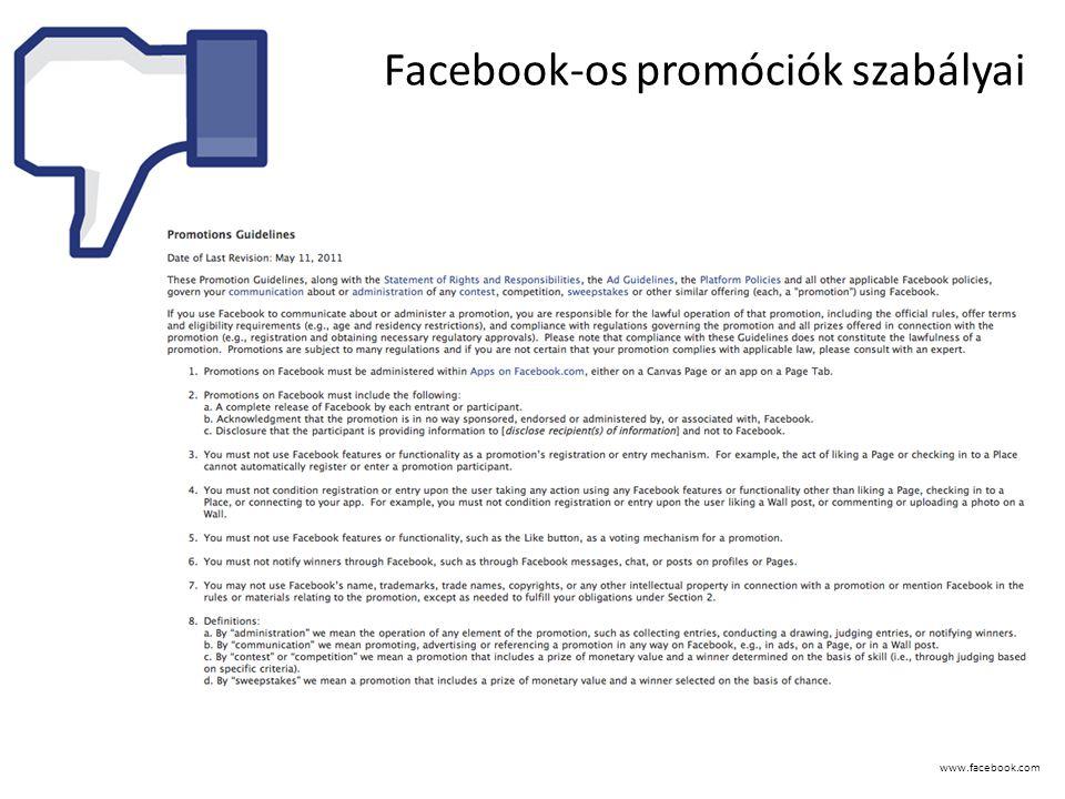 www.facebook.com Facebook-os promóciók szabályai