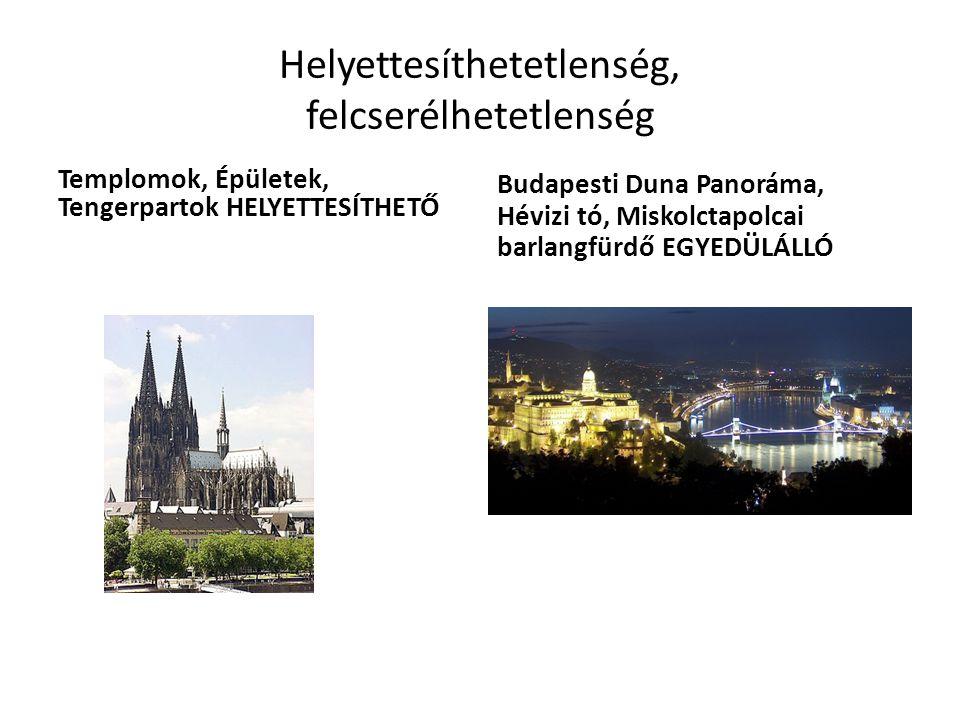 Helyettesíthetetlenség, felcserélhetetlenség Templomok, Épületek, Tengerpartok HELYETTESÍTHETŐ Budapesti Duna Panoráma, Hévizi tó, Miskolctapolcai barlangfürdő EGYEDÜLÁLLÓ