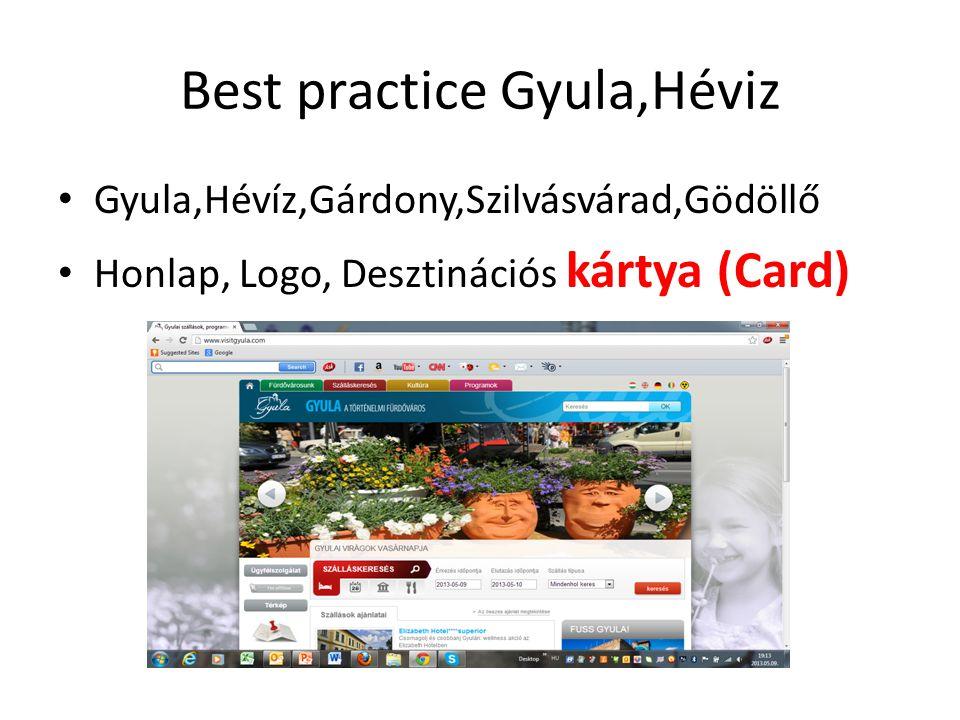 Best practice Gyula,Héviz • Gyula,Hévíz,Gárdony,Szilvásvárad,Gödöllő • Honlap, Logo, Desztinációs kártya (Card)