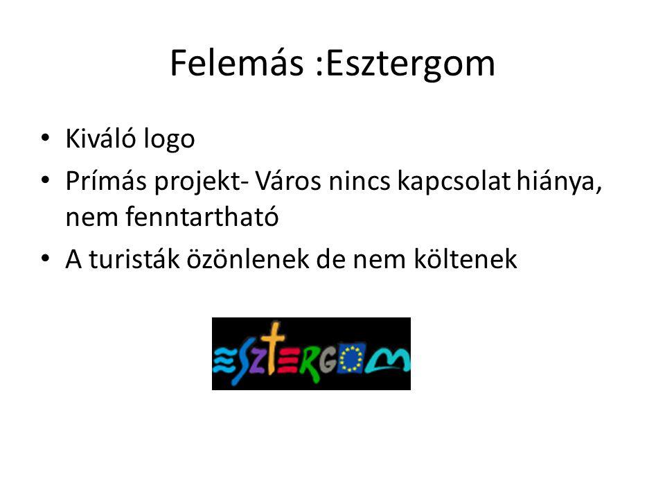 Felemás :Esztergom • Kiváló logo • Prímás projekt- Város nincs kapcsolat hiánya, nem fenntartható • A turisták özönlenek de nem költenek