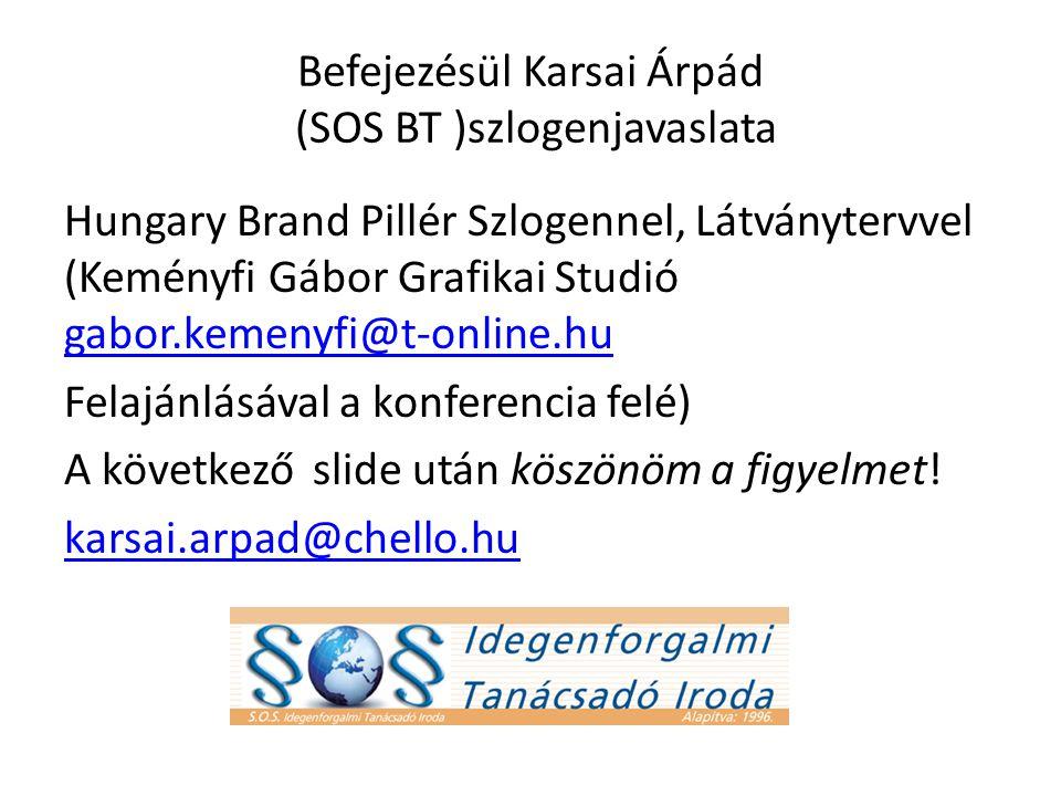Befejezésül Karsai Árpád (SOS BT )szlogenjavaslata Hungary Brand Pillér Szlogennel, Látványtervvel (Keményfi Gábor Grafikai Studió gabor.kemenyfi@t-online.hu gabor.kemenyfi@t-online.hu Felajánlásával a konferencia felé) A következő slide után köszönöm a figyelmet.