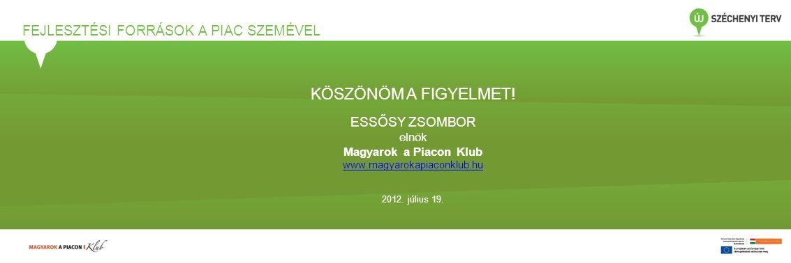 FEJLESZTÉSI FORRÁSOK A PIAC SZEMÉVEL KÖSZÖNÖM A FIGYELMET! ESSŐSY ZSOMBOR elnök Magyarok a Piacon Klub www.magyarokapiaconklub.hu 2012. július 19.