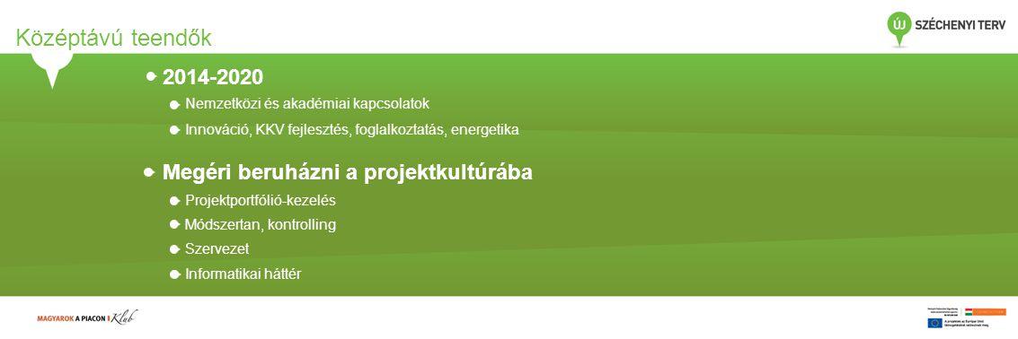 Középtávú teendők 2014-2020 Nemzetközi és akadémiai kapcsolatok Innováció, KKV fejlesztés, foglalkoztatás, energetika Megéri beruházni a projektkultúr