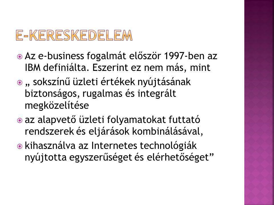 """ Az e-business fogalmát először 1997-ben az IBM definiálta. Eszerint ez nem más, mint  """" sokszínű üzleti értékek nyújtásának biztonságos, rugalmas é"""