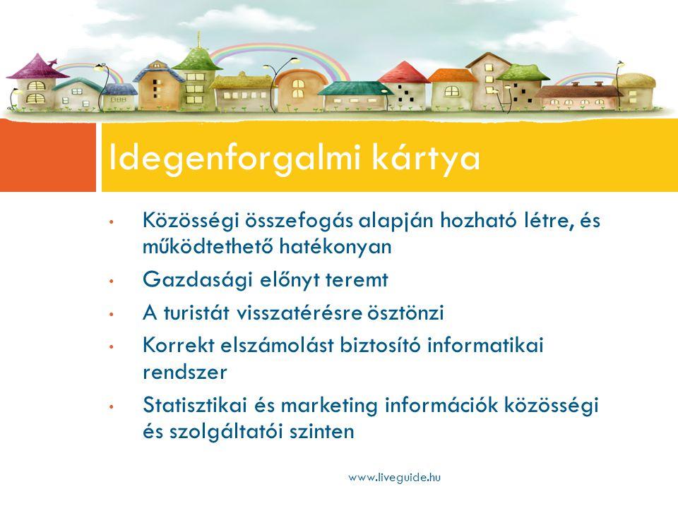 • Közösségi összefogás alapján hozható létre, és működtethető hatékonyan • Gazdasági előnyt teremt • A turistát visszatérésre ösztönzi • Korrekt elszámolást biztosító informatikai rendszer • Statisztikai és marketing információk közösségi és szolgáltatói szinten Idegenforgalmi kártya www.liveguide.hu