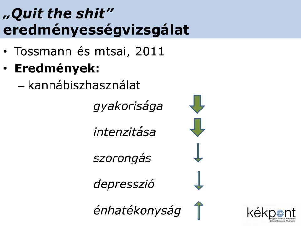 """""""Quit the shit eredményességvizsgálat • Tossmann és mtsai, 2011 • Eredmények: – kannábiszhasználat gyakorisága intenzitása szorongás depresszió énhatékonyság"""