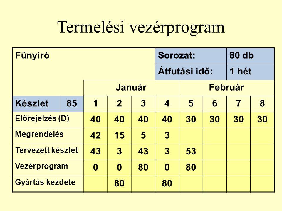 Termelési vezérprogram FűnyíróSorozat:80 db Átfutási idő:1 hét JanuárFebruár Készlet8512345678 Előrejelzés (D) 40 30 Megrendelés 421553 Tervezett kész