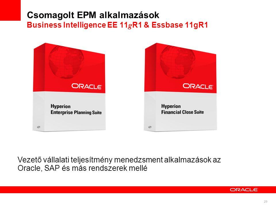 29 Csomagolt EPM alkalmazások Business Intelligence EE 11 g R1 & Essbase 11gR1 Vezető vállalati teljesítmény menedzsment alkalmazások az Oracle, SAP é