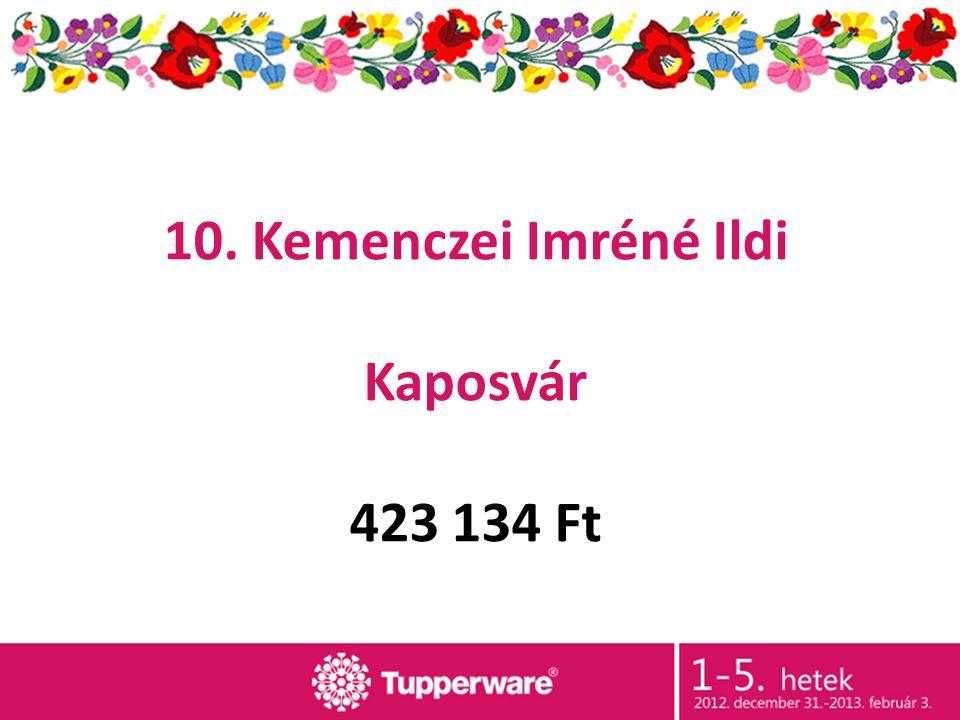 10. Kemenczei Imréné Ildi Kaposvár 423 134 Ft