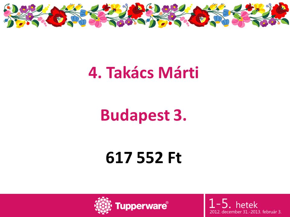 4. Takács Márti Budapest 3. 617 552 Ft