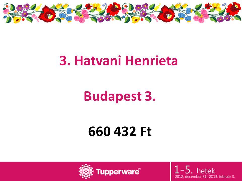 3. Hatvani Henrieta Budapest 3. 660 432 Ft