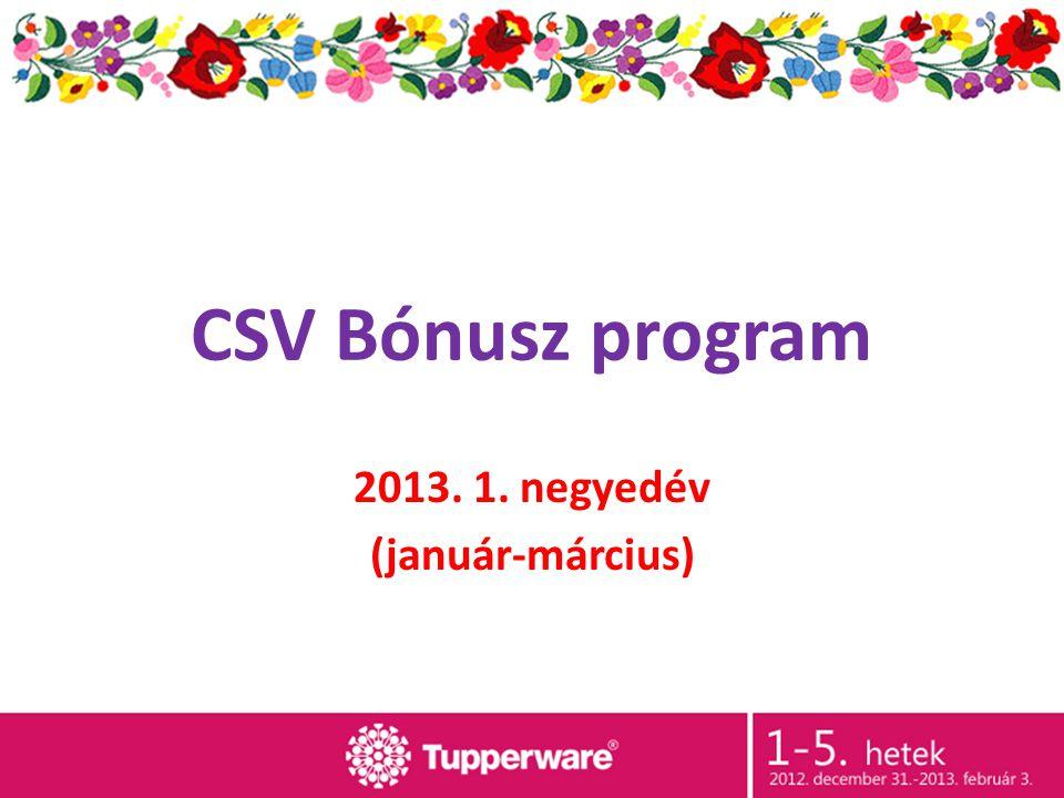 CSV Bónusz program 2013. 1. negyedév (január-március)