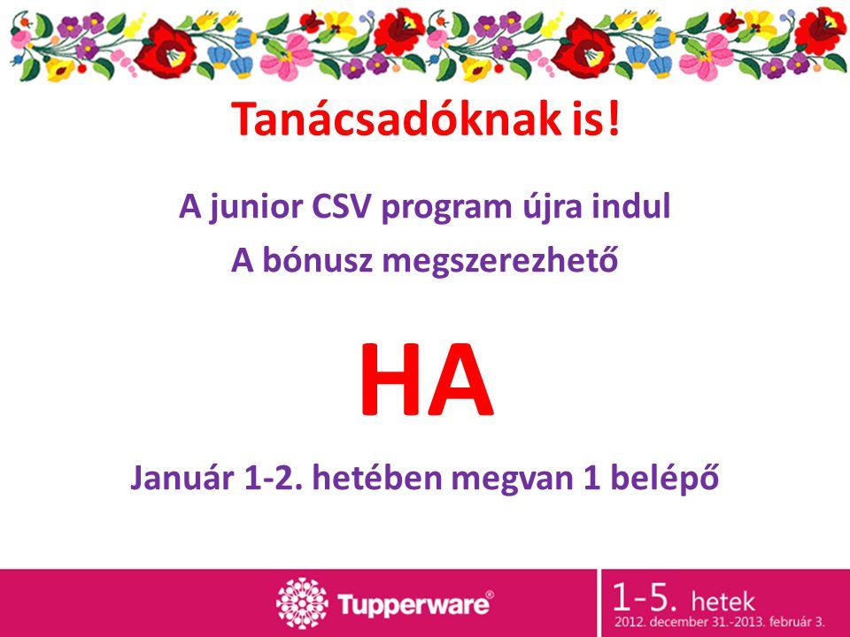 Tanácsadóknak is! A junior CSV program újra indul A bónusz megszerezhető HA Január 1-2. hetében megvan 1 belépő