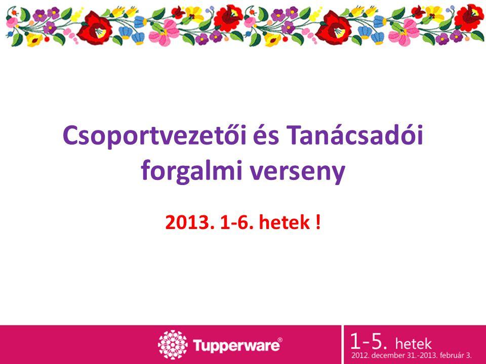 Csoportvezetői és Tanácsadói forgalmi verseny 2013. 1-6. hetek !