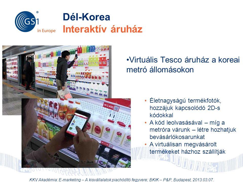 © 2012 GS1 Driving Momentum Together Dél-Korea Interaktív áruház •Virtuális Tesco áruház a koreai metró állomásokon •Életnagyságú termékfotók, hozzáju