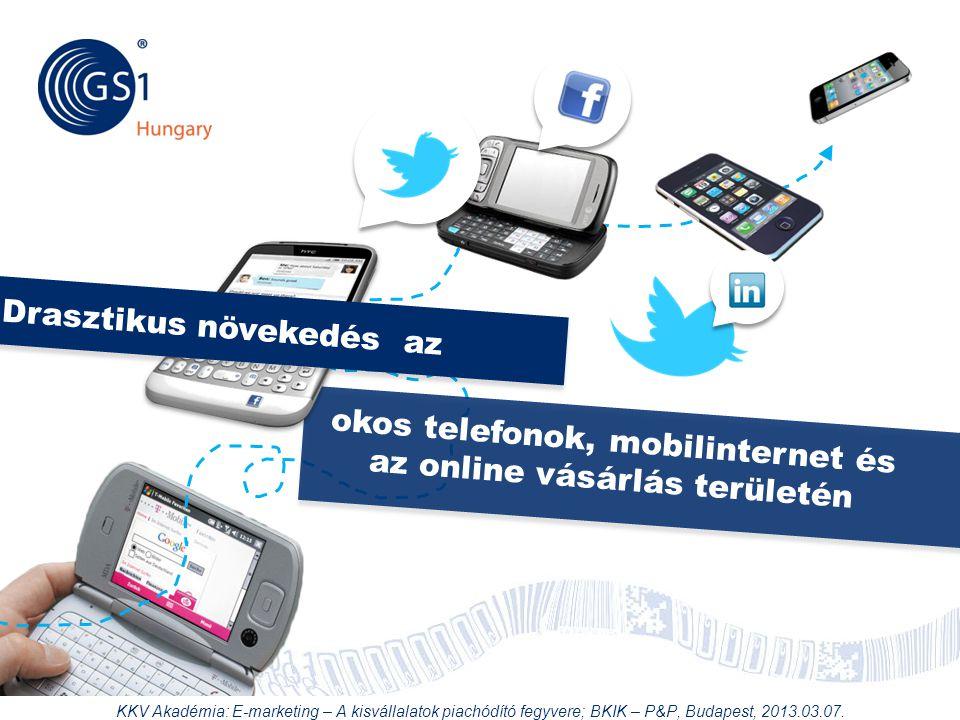 © 2012 GS1 Driving Momentum Together okos telefonok, mobilinternet és az online vásárlás területén Drasztikus növekedés az KKV Akadémia: E-marketing –