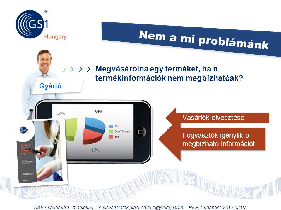 © 2012 GS1 Driving Momentum Together Nem a mi problámánk Gyártó Megvásárolna egy terméket, ha a termékinformációk nem megbízhatóak?     Vásárlók e